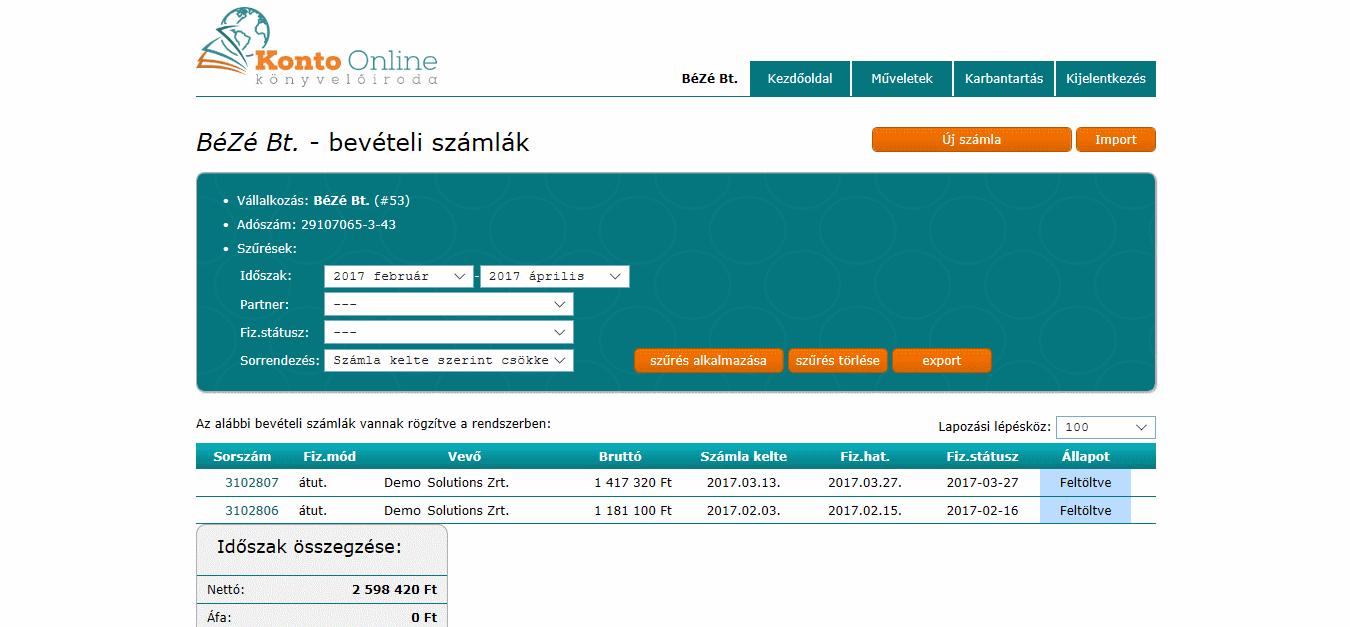 online könyvelő rendszer